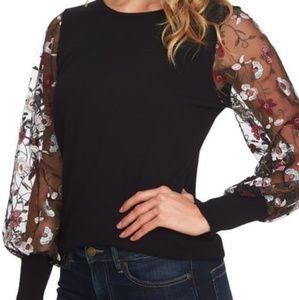 CeCe Embroidered Sleeve Sweater sz Medium